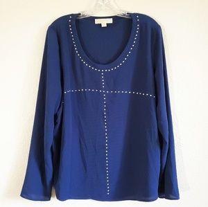 Michael Kors long sleeve studded blouse